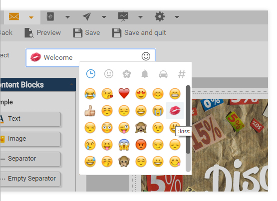 Emoticon dans Title de la newsletter