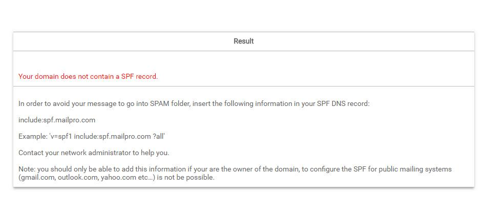 SPF no Mailpro